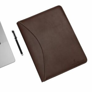 Deerlux Brown Leather Business Padfolio Portfolio With Large Notepad