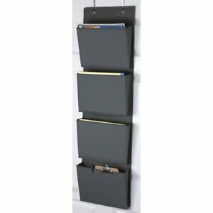 Home Basics Black 600d Polyester Over The Door Hanging File Organizer