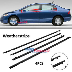 4pcs For Honda Civic 2006 2011 Car Outside Door Glass Window Weatherstrip Trim