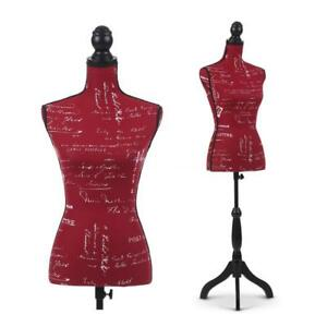 Red Female Mannequin Bust Window Torso Dress Form Black Tripod Stand H7x4