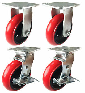 4 Heavy Duty Caster Set 4 5 6 Polyurethane Cast Iron Wheels No Mark round