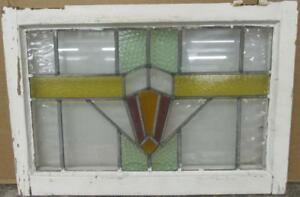 Mid Sized Old English Leaded Stained Glass Window Geometric Burst 23 25 X 16