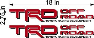 Toyota Trd Off Road Red Black Pair Vinyl Vehicle Truck Replacement Decal