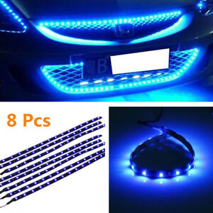 8 Pcs Flexible 12v Blue 15led Smd Waterproof Car Auto Grille Decor Lights Strip