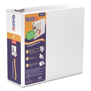 Stride Quickfit D ring View Binder 4 inch Capacity 8 1 2 X 11 White