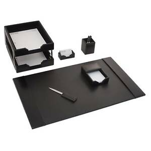 Black Leather 7 piece Econo Line Desk Set