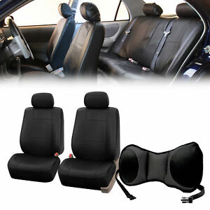 Pu Leather Front Bucket Pair Black For Auto With Seat Back Cushion Pad Black