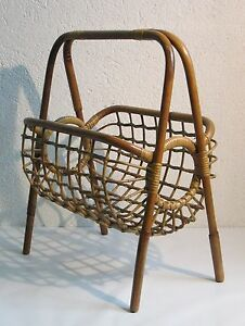 Vintage Magazine Rack Newspapers Design 50 S Wooden Bamboo Bamboo
