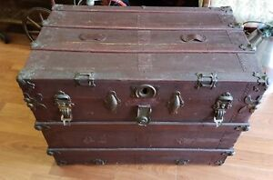 Antique Steamer Flat Top Trunk Circa 1910 S Great Restoration Project We Ship