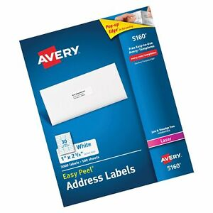 Avery Ave05160 Easy Peel Address Labels Permanent Adhesive 1 X 2 5 8 3 0