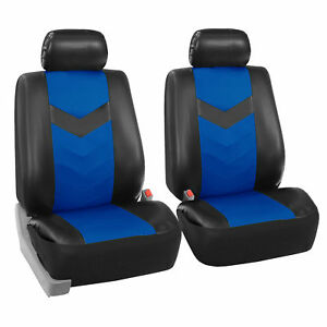 Faux Synthetic Leather Car Seat Covers Front Bucket Covers Blue Black