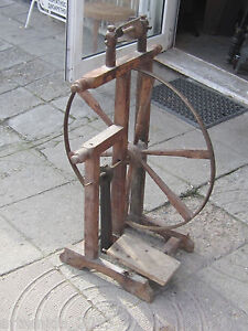 Antique Primitive Handmade Wooden Spinning Wheel Ottoman Empire Balkans