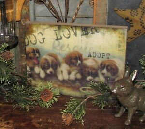 Primitive Antique Vtg Style Wooden Box Puppy Dog Lover Sign Shelf Sitter