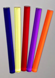 5 Different 1 Inch Diameter Clear Color Acrylic Plexiglass Plastic Lucite Rods