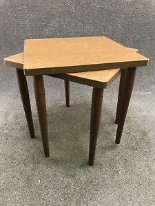 Pair Of Mid Century Stacking Formica Woodgrain Accent Nesting End Tables
