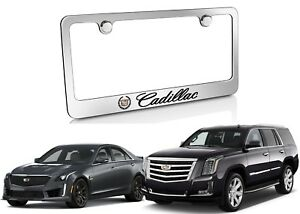 Cadillac Logo Chrome Solid Brass License Frame Custom Accessory New Free Ship