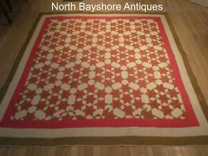 Antique 1850s Maryland Pre Civiil War Hand Pieced Quilted Seven Sisters Quilt