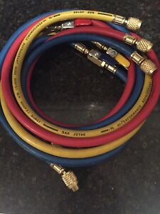3 Pack Manifold Refrigeration Hoses With Ball Valves 60 Blue yellow red