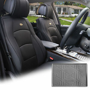 Pu Leather Seat Cushion Covers Front Bucket Black W Gray Dash Mat For Auto