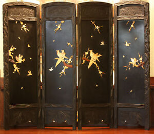 Antique Japanese Folding Screen Four Panels Handcarved