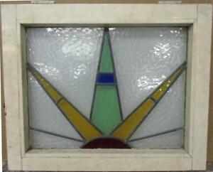 Mid Size Old English Leaded Stained Glass Window Colorful Sun Burst 23 X 18 75