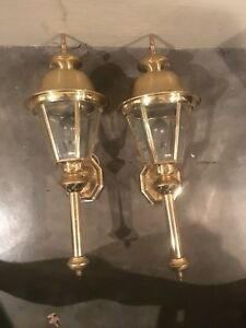 Vintage Indoor Outdoor Solid Brass Coach Style Wall Lighting Fixture 25 X 9