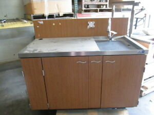 Emi 6 Stainless Steel Work Prep Table W Sink Portable Wood Cabinet Station