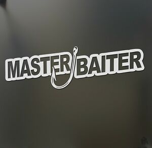 Master Baiter Fishing Sticker Fish Lake Boat Funny Jdm Angler Car Window
