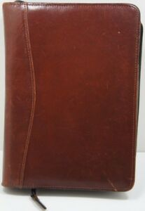 Vintage Scully Leather 3 Ring Binder Folder Day Planner With Pen