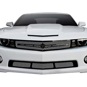 For Chevy Camaro 10 13 Grille Kit 2 Pc Luxury Series Chrome Dual Weave Mesh Main