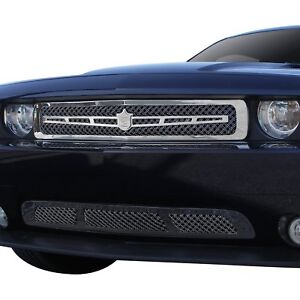 For Dodge Challenger 11 14 Grille Kit 2 Pc Luxury Series Chrome Dual Weave Mesh