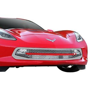 For Chevy Corvette 14 18 1 Pc Luxury Series Chrome Dual Weave Mesh Main Grille