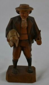 Wood Carved P Madeder Lucerne Switzerland Man Holding Dog