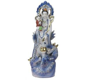 Guanyin Kwan Yin With Child Mercy Goddess Porcelain Figurine Statue 14 H New