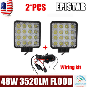 2x 48w Led Work Light Flood Truck Driving Fog Lamp Square 4wd Suv W Harness Kit