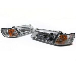 93 97 Toyota Corolla Crystal Headlight Lamps W corner Signal Jdm Chrome Used
