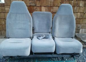 92 96 Ford Truck bronco Gray Bucket Seats Jump Seat Console W bench Plate 455