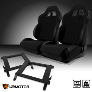 Fits 2005 2014 Mustang Black Cloth Leather Patch Racing Seats W custom Brackets