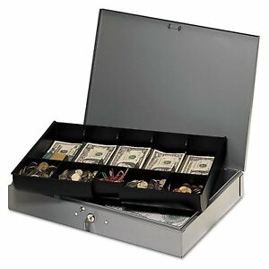 Steelmaster Extra wide Steel Cash Box With 10 Compartments Key Lock Grey