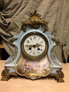 Antique French Hand Painted Porcelain Clock By Jacob Petit