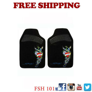 New 2pcs Set Ed Hardy Peacock Car Truck Suv Van Front Carpet Floor Mats