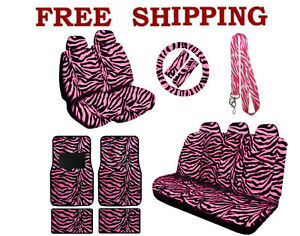 New Pink Zebra Print Seat Covers Steering Wheel Cover Floor Mats Lanyard Set