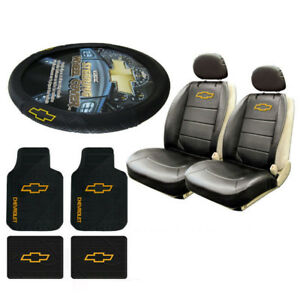 New Chevrolet Chevy Car Truck Rubber Floor Mats Seat Covers Steering Wheel Cover