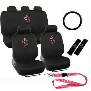 New Pink Hearts Car Front Back Seat Covers Steering Wheel Cover