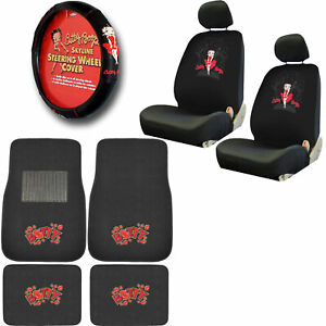 New Classic Betty Boop Car Seat Covers Steering Wheel Cover Floor Mats Set