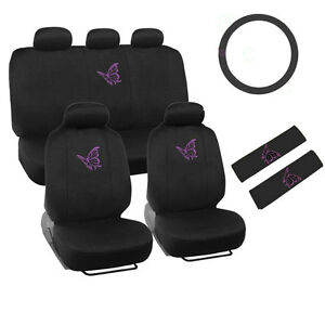 New Set Purple Butterfly Car Front Back Seat Covers Steering Wheel Cover