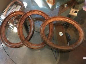 Lot Of 3 Vintage Antique Oval Wood Picture Frames No Glass