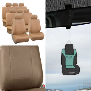 Beige Leather Seat Split Bench 8 Seaters 3row Suv Van With Free Air Freshener
