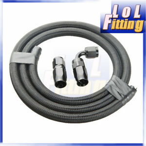 An4 Nylon Cover Braided Fuel Line Oil Gas Hose 1meter Hose End Fitting