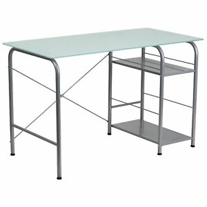Dover Glass Top Computer Office Writing Desk With Open Storage